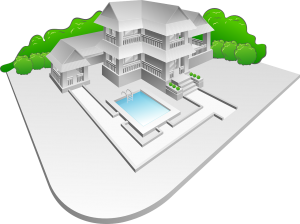 drawing of large home with pool